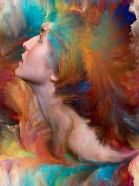 Inside Outside series. Background design of female portrait fused with vibrant paint on the subject of feelings, emotions, inner world, creativity and imagination