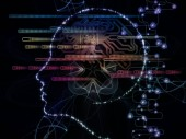 CPU Mind series. Backdrop of human face silhouette and technology symbols on the subject of computer science, artificial intelligence and communications