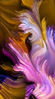 Color In Motion series. Abstract design made of liquid paint pattern on the subject of design, creativity and imagination to use as wallpaper for screens and devices