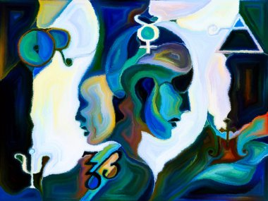 Stained Glass Forever series. Composition of human profiles, sacred symbols and color patterns with metaphorical relationship to mysticism, creativity and imagination