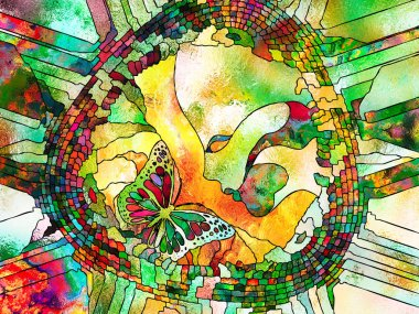 Stained Glass Forever series. Kid and butterfly symbols in organic line patters on the subject of unity of man and Nature.