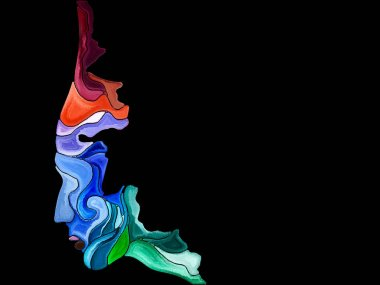 Human Apart series. Creative arrangement of head profile and vivid paint shapes for subject of art, spirituality and design