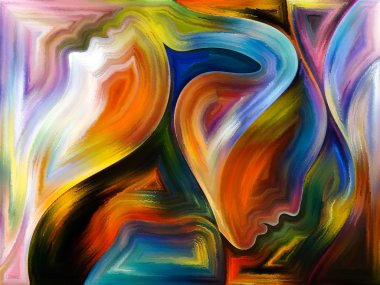 Inner Dialog series. Creative arrangement of human profiles and vivid paint shapes for subject of emotions, relationships, human drama, spirituality and design
