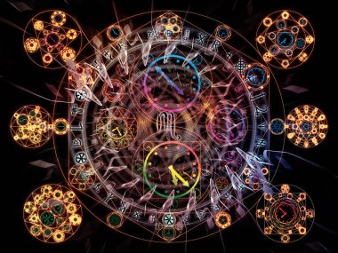 Time Connection series. Composition of time and fractal geometry symbols with metaphorical relationship to past, future, time travel and modern science stock vector