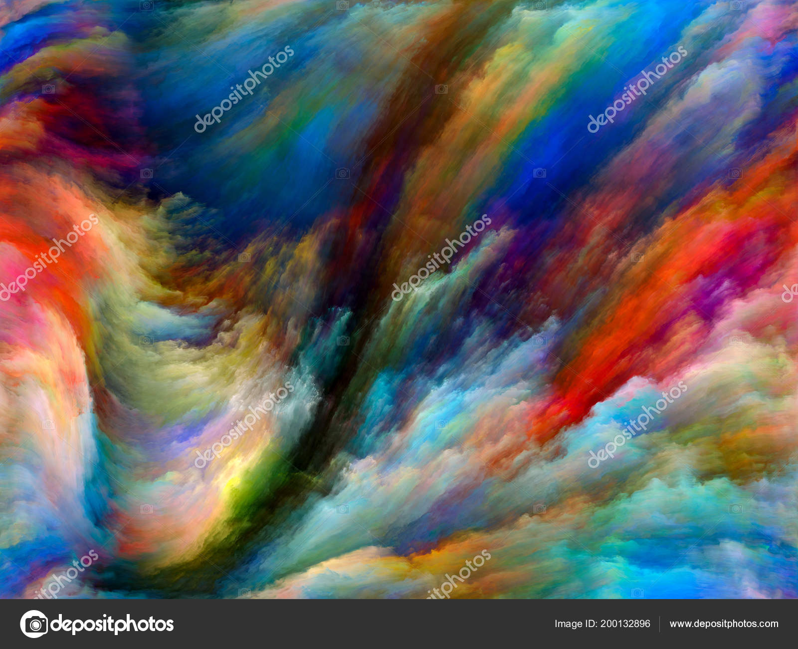Design Made Of Colorful Paint In Motion On Canvas To