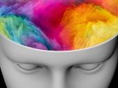 Mysl mlha. 3D obrázek lidské hlavy s barevnými fraktální mraky pro subjekty na umění, psychologie, kreativity, fantazie a sny