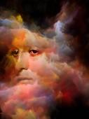 Duši stín série. Surrealistický portrét ženské tváři mísil s barevnými fraktální mlhovina textury na téma sny, léky, vnitřní život, duševní zdraví, tvořivost a lidské mysli