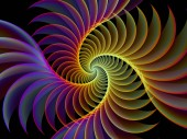 Spiral Geometry series. Composition of spinning vortex of fractal elements suitable as a backdrop for the projects on mathematics, geometry and science