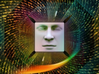 Artificial Intelligence series. Abstract design made of 3D illustration of human face and computer elements on the subject of super human AI, computer consciousness  and technology