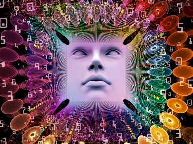 Artificial Intelligence series. Design composed of 3D illustration of human face and computer elements as a metaphor on the subject of super human AI, computer consciousness  and technology