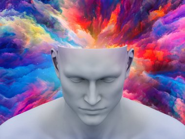 Brainstorm. 3D illustration of human head with colorful fractal clouds for subjects on art, psychology, creativity, imagination and dreams. Custom background series.