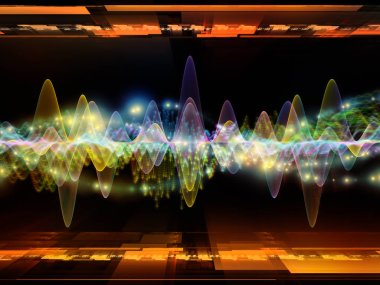 Wave Function series. Backdrop composed of colored sine vibrations, light and fractal elements and suitable for use in the projects on sound equalizer, music spectrum and  quantum probability stock vector