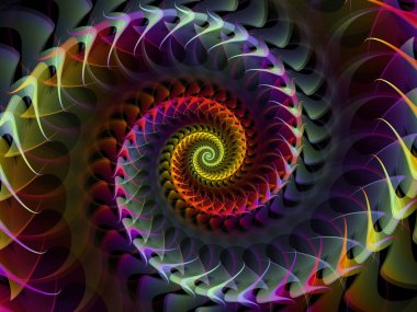 Spiral Geometry series. Composition of spinning vortex of fractal elements suitable as a backdrop for the projects on mathematics, geometry and science stock vector