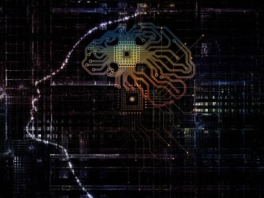 CPU Mind series. Background composition of  human face silhouette and technology symbols on the subject of computer science, artificial intelligence and communications