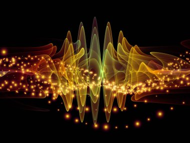 Wave Function series. Design composed of colored sine vibrations, light and fractal elements as a metaphor on the subject of sound equalizer, music spectrum and  quantum probability