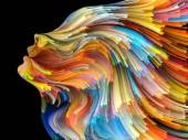 Gesicht der Farbserien. kreative Anordnung menschlichen Profils und farbenfroher Linien beweglicher Farbe als Konzeptmetapher zum Thema Kreativität, Design, Innenwelt, menschliche Natur und künstlerische Seele
