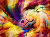 Treble clef symbol in swirl of colorful paint as backdrop for works on art, inspiration, creativity, sound performance and classical music. Custom background series.