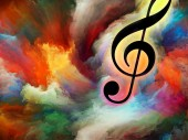 Simbolo chiave di violino in turbinio di vernice colorata come sfondo per opere sullarte, ispirazione, creatività, prestazioni audio e musica classica. Serie di sfondo personalizzato