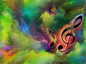Treble clef symbol in swirl of colorful paint as backdrop for works on art, inspiration, creativity, sound performance and classical music.