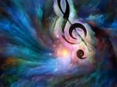 Fotografia Simbolo chiave di violino in turbinio di vernice colorata come sfondo per opere sullarte, ispirazione, creatività, prestazioni audio e musica classica. Serie di sfondo personalizzato