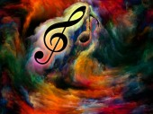 Treble clef symbol and a note in swirl of colorful paint as backdrop for works on art, inspiration, creativity, sound performance and classical music. Custom background series.