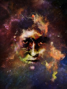 Nebula of You series. Abstract design made of female portrait and space nebula on the subject of perception, imagination, inner world and human mind