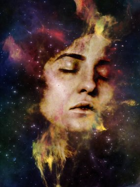 Nebula of You series. Background design of female portrait and space nebula on the subject of perception, imagination, inner world and human mind