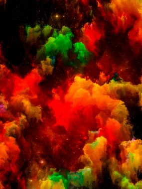 Universe is not Enough series. Interplay of nebulae of vibrant paint on the subject of cosmos, fantasy, imagination, art and design