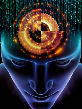 Elements of Mind series. 3D illustration of human head and symbols of technology on the subject of  science, education and powers of the mind