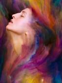 Její Světová série. Složení ženský portrét srostlý s zářivé barvy s metaforický vztah k pocity, emoce, vnitřní svět, tvořivost a představivost