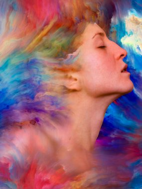 Her World series. Artistic background made of female portrait fused with vibrant paint for use with projects on feelings, emotions, inner world, creativity and imagination