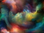 Abstraktní pozadí série. Umělecké abstrakce, složené z barev a pohybu na plátně na téma umění, tvořivost a představivost