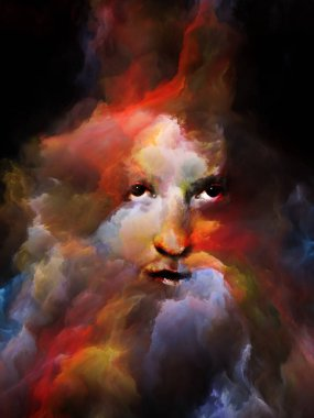 Your Shadow series. Surreal portrait of female face fused with colored fractal nebula texture on the subject of dreams, nightmares, imagination, mental health, creativity and human mind