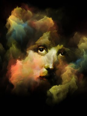 Your Shadow series. Surreal portrait of female face fused with colored fractal nebula texture on the subject of dreams, memories, imagination, mental health, creativity and human mind