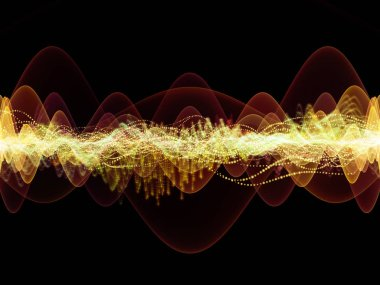 Wave Function series. Interplay of colored sine vibrations, light and fractal elements on the subject of sound equalizer, music spectrum and  quantum probability stock vector