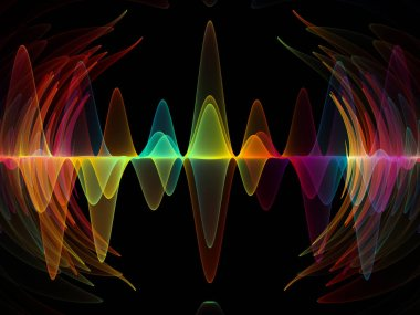 Wave Function series. Backdrop of  colored sine vibrations, light and fractal elements to complement designs on the subject of sound equalizer, music spectrum and  quantum probability