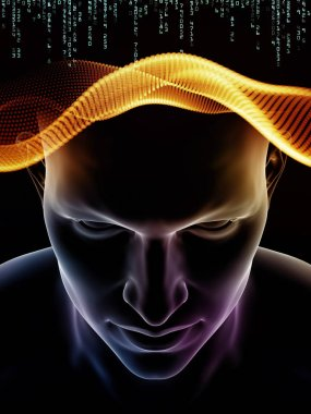 Mind Waves series. Backdrop design of 3D illustration of human head and technology symbols for works on consciousness, brain, intellect and artificial intelligence