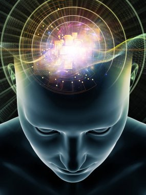 Mind Waves series. Background composition of  3D illustration of human head and technology symbols on the subject of consciousness, brain, intellect and artificial intelligence