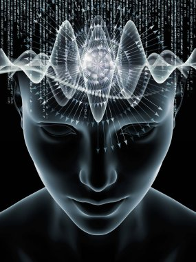 Mind Waves series. Abstract composition of 3D illustration of human head and technology symbols suitable in projects related to consciousness, brain, intellect and artificial intelligence