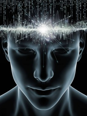 Mind Waves series. Graphic composition of 3D illustration of human head and technology symbols  for subject of consciousness, brain, intellect and artificial intelligence