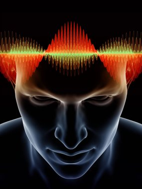 Mind Waves series. Design composed of 3D illustration of human head and technology symbols as a metaphor on the subject of consciousness, brain, intellect and artificial intelligence