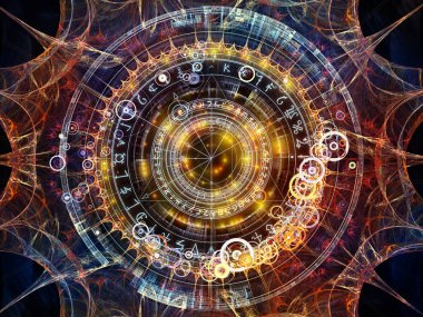 Background of fractal elements, sacred symbols and circles on the subject of mysticism, occult, astrology and spirituality. Sacred circles series.