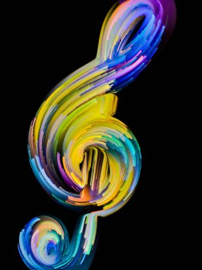 Painted Music Symbols series. Outlines of a treble clef and multicolored streaks on the subject of performance art, song, sound and melody themes.
