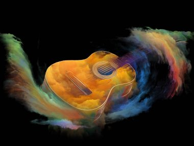 Music Dream series. Creative arrangement of guitar and abstract colorful paint for subject of musical instruments, melody, sound, performance arts and creativity