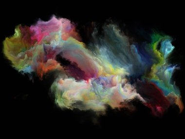 Color Flow series. Composition of streams of digital paint on the subject of music, creativity, imagination, art and design