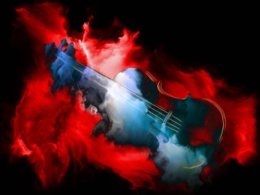 Music Dream series. Composition of violin and abstract colorful paint on the subject of musical instruments, melody, sound, performance arts and creativity