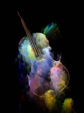 Music Dream series. Background design of violin and abstract colorful paint on the subject of musical instruments, melody, sound, performance arts and creativity