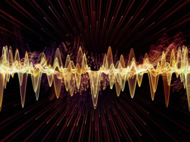 Wave Function series. Composition of colored sine vibrations, light and fractal elements suitable as a backdrop for the projects on sound equalizer, music spectrum and  quantum probability stock vector
