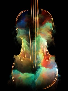 Music Dream series. Graphic composition of violin and abstract colorful paint  for subject of musical instruments, melody, sound, performance arts and creativity