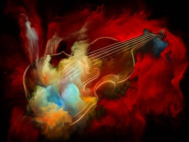Music Dream series. Backdrop of  violin and abstract colorful paint to complement your design on the subject of musical instruments, melody, sound, performance arts and creativity